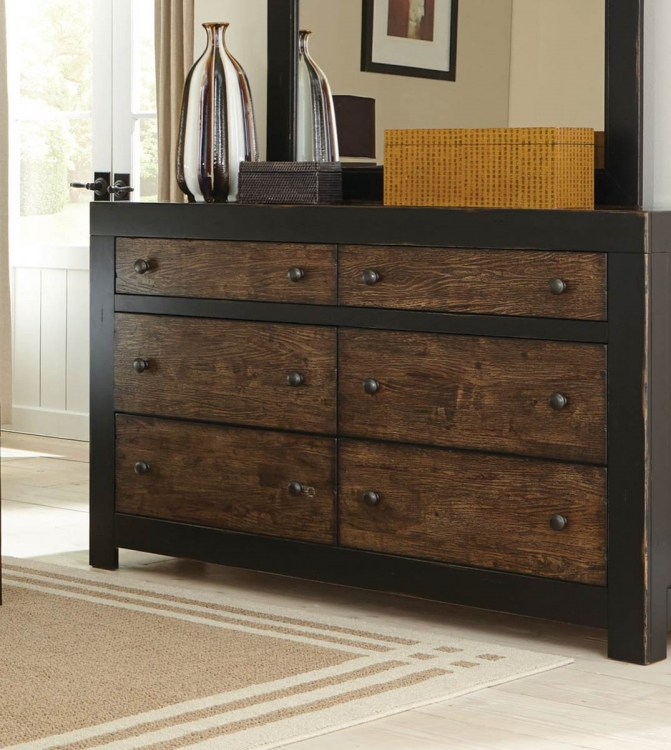 Segundo Dresser - Antique Oak Embossed/Sand-through Black