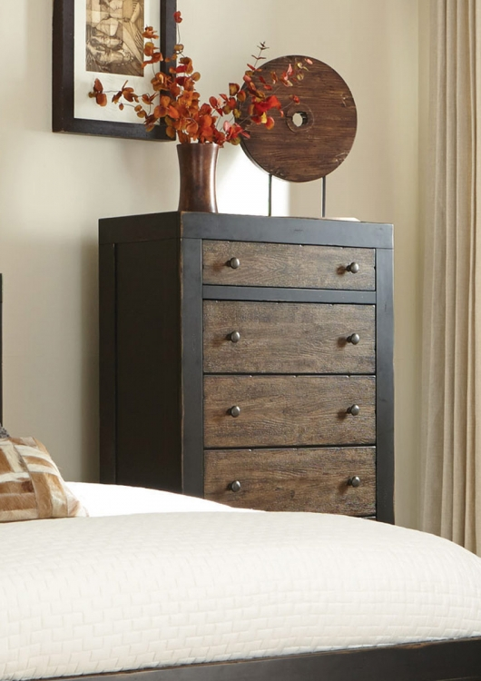Segundo Chest - Antique Oak Embossed/Sand-through Black