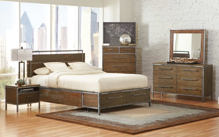 Arcadia Platform Panel Storage Bedroom Set - Weathered Acacia