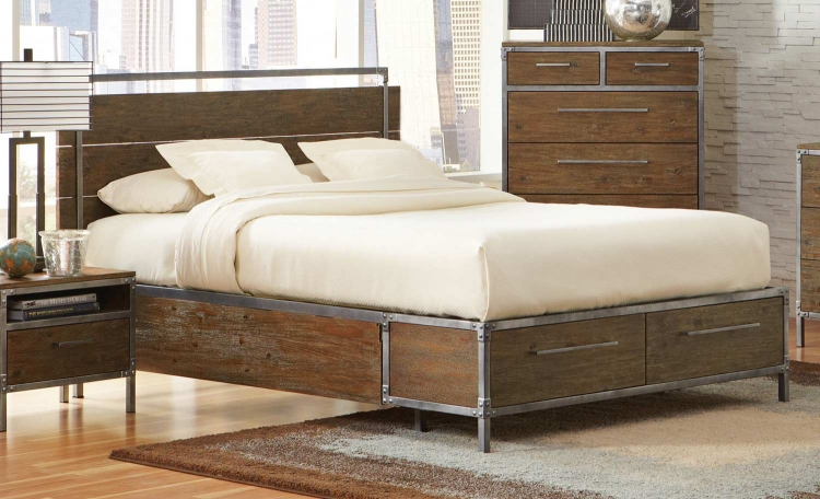 Arcadia Platform Panel Storage Bed - Weathered Acacia