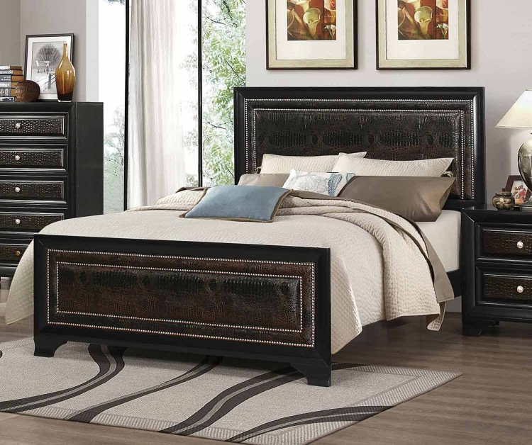 Delano Upholstered Bed - Brown/Black Faux Crocodile Leatherette