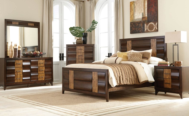 Dublin Bedroom Collection - Brown Oak/Dark Forest