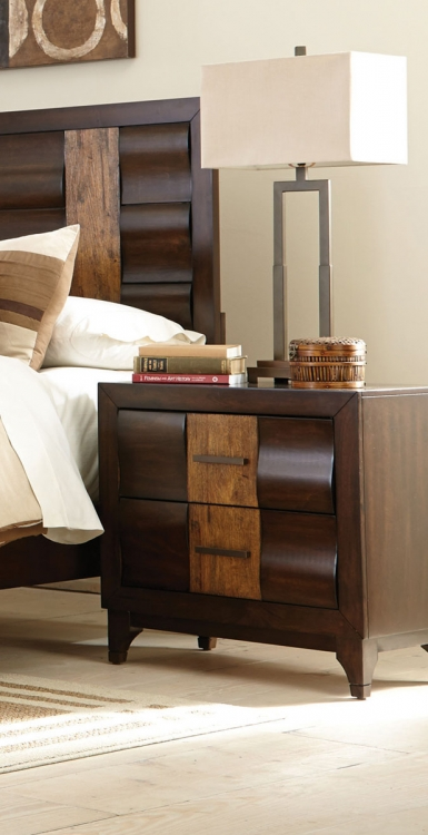 Dublin Night stand - Brown Oak/Dark Forest