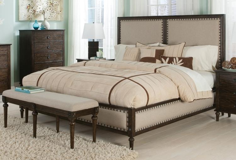 Saville Upholstered Bed - Brushed Dark Oak