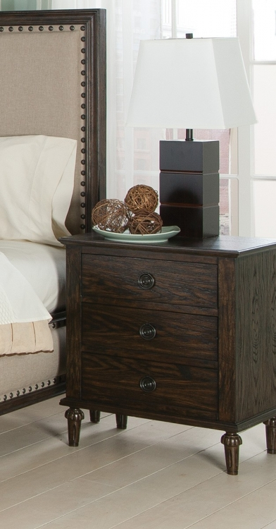 Saville Night Stand - Brushed Dark Oak