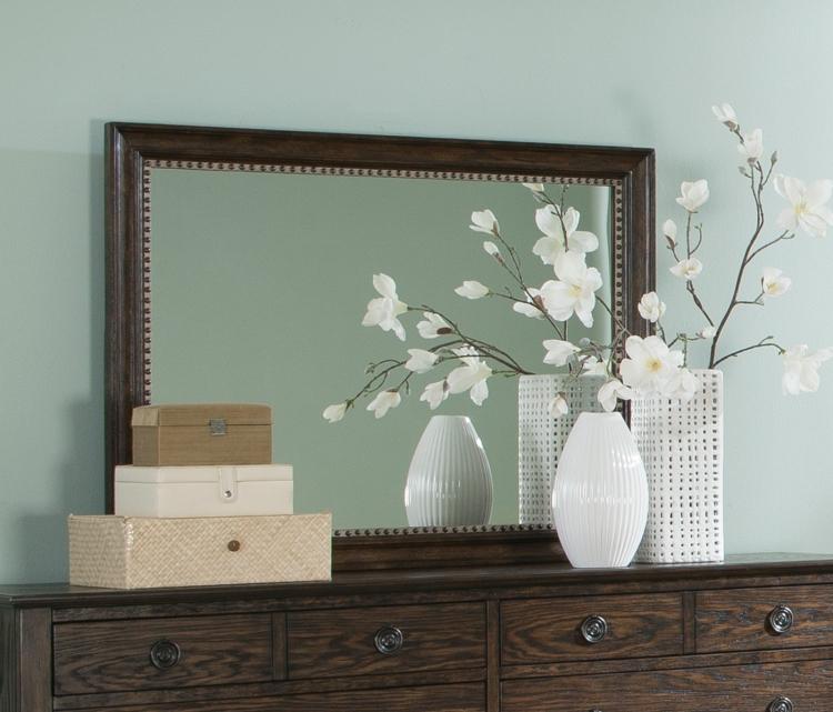 Saville Mirror - Brushed Dark Oak