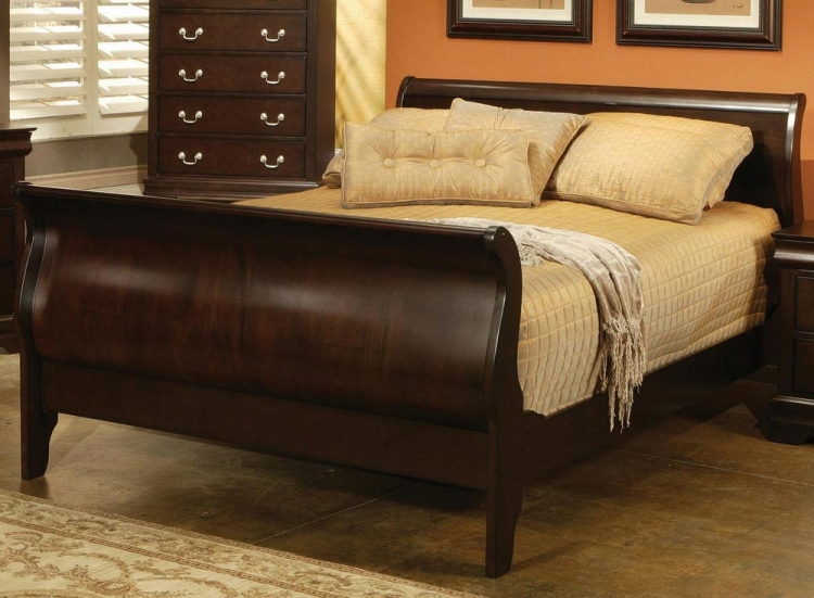 Louis Philippe Cappuccino Sleigh Bed