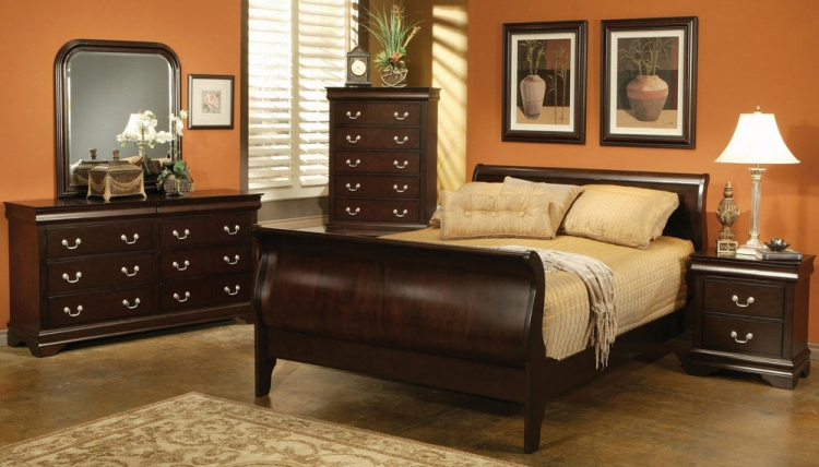 Louis Philippe Cappuccino Sleigh Bedroom Set