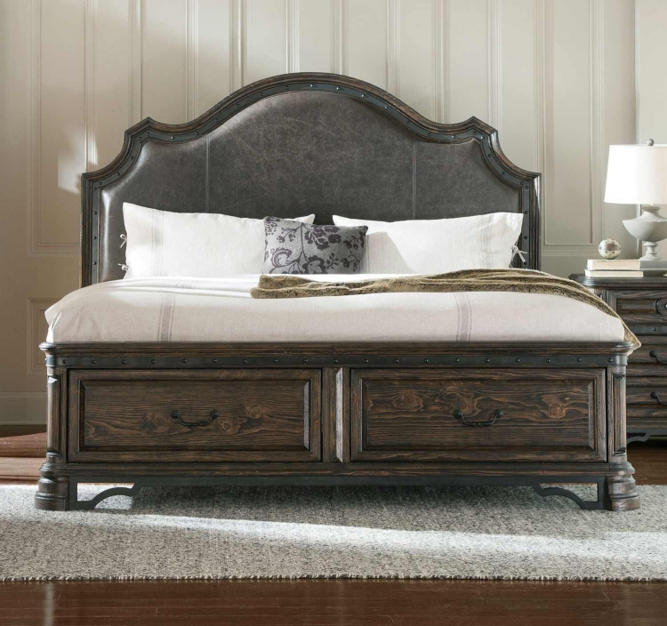 Carlsbad Platform Storage Bed - Dark Brown