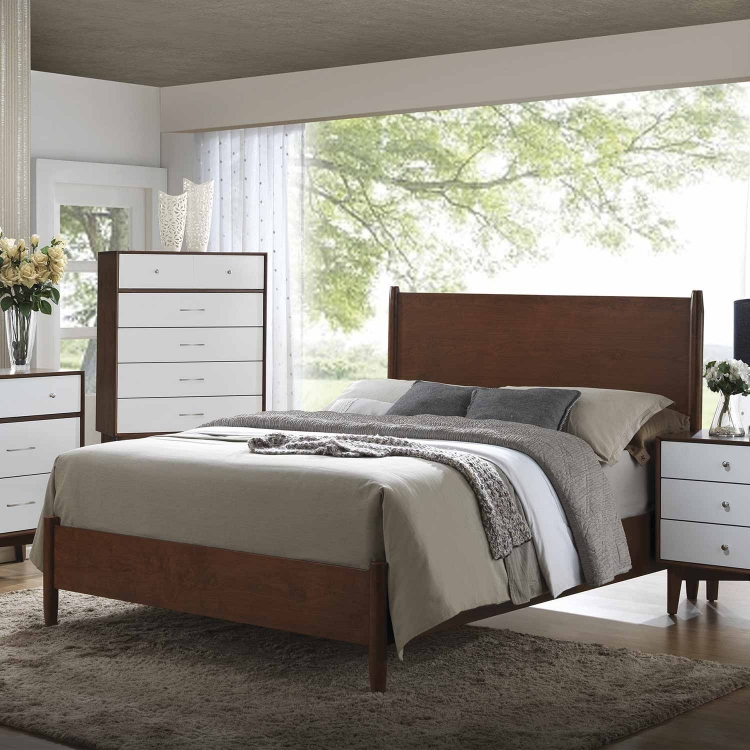 Oakwood Bed - Golden Brown/White