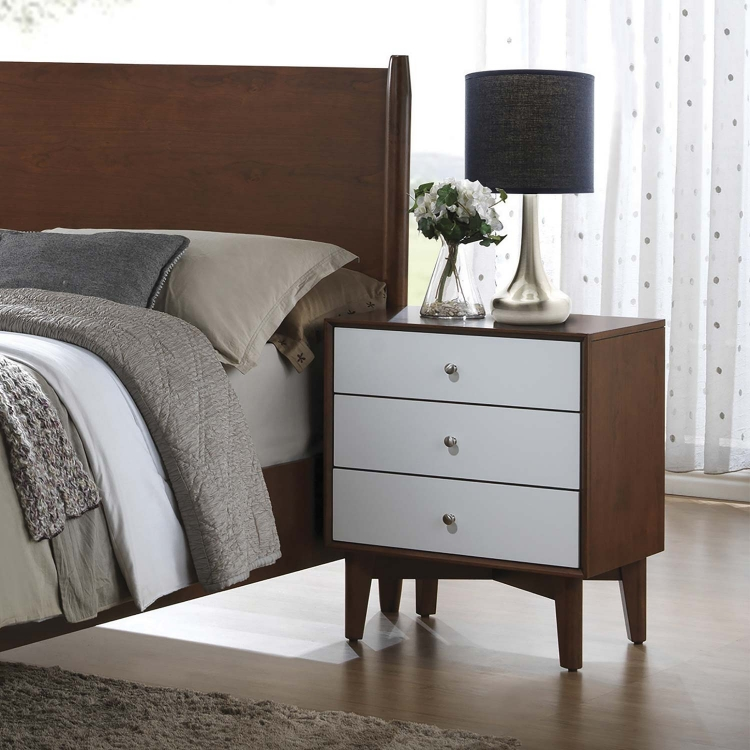 Oakwood Nightstand - Golden Brown/White