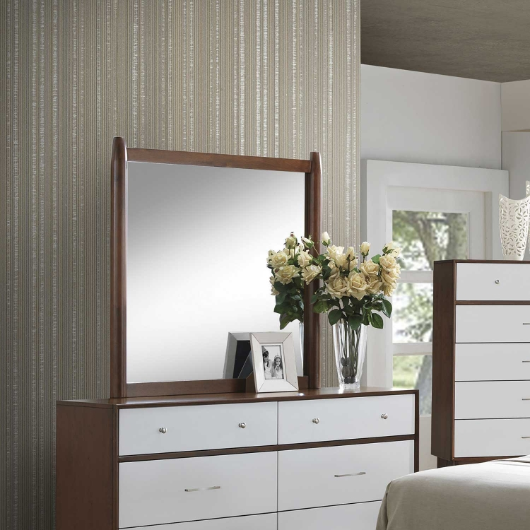 Oakwood Mirror - Golden Brown/White