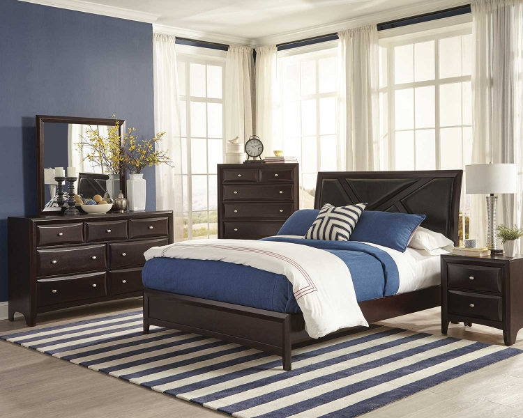 Rossville Upholstered Bedroom Set - Cappuccino