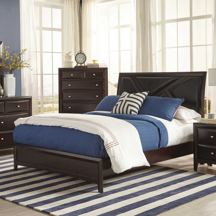 Rossville Upholstered Bed - Cappuccino