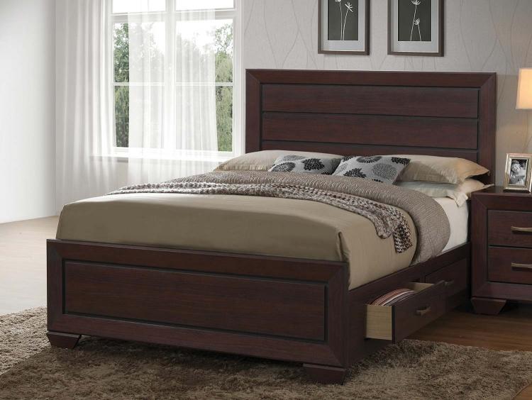 Fenbrook Storage Platform Bed - Dark Cocoa