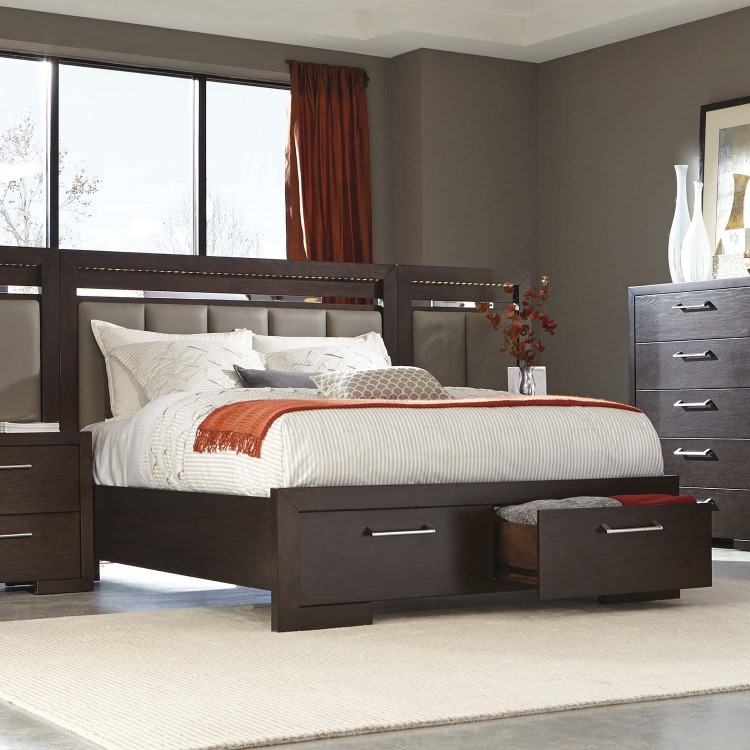 Berkshire Lighted Platform Storage Bed - Bitter Chocolate