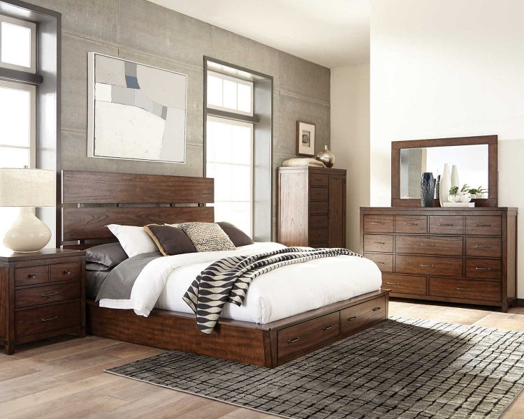 Artesia Platform Storage Bedroom Set B - Dark Cocoa