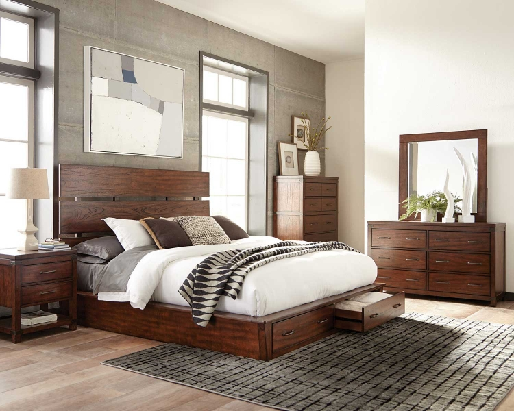 Artesia Platform Storage Bedroom Set A - Dark Cocoa