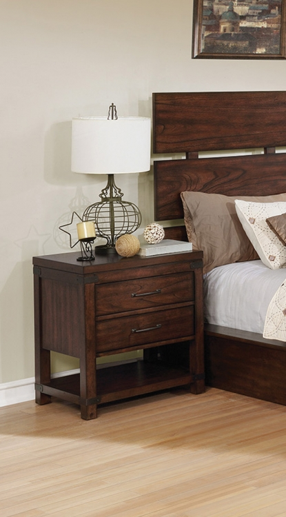 Artesia 2 Drawer Nightstand - Dark Cocoa