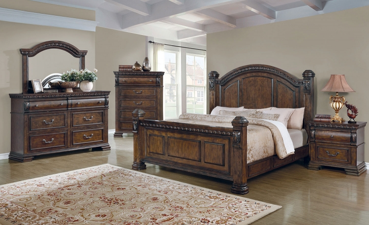 Satterfield Bedroom Set - Warm Bourbon