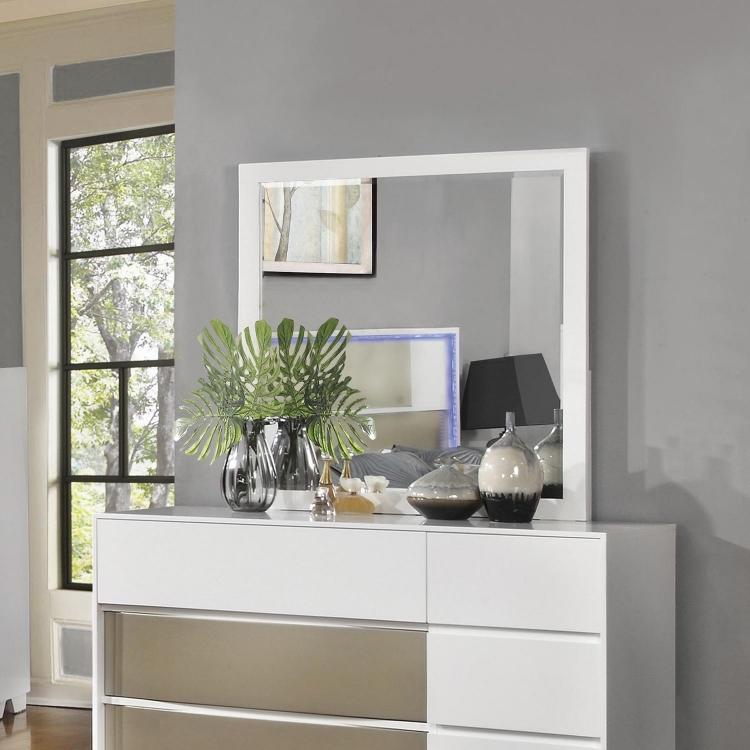 Havering Mirror - Blanco/Sterling
