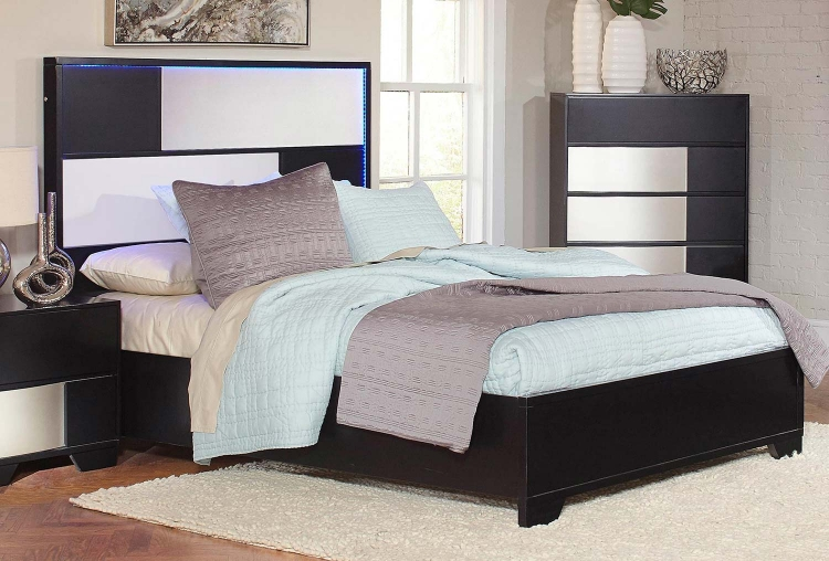 Havering Platform Low Profile Bed - Black/Sterling