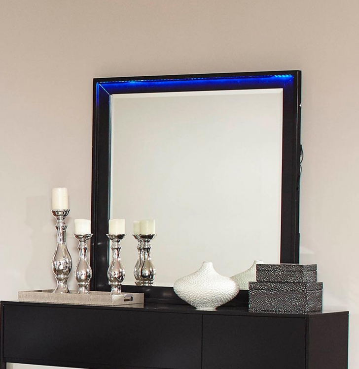 Havering Mirror - Black/Sterling