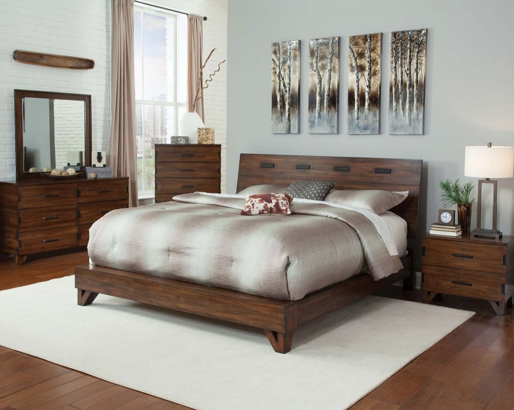 Yorkshire Platform Bed - Dark Amber/Coffee Bean