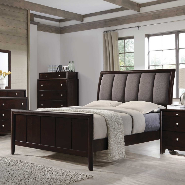 Madison Upholstered Bed - Dark Merlot