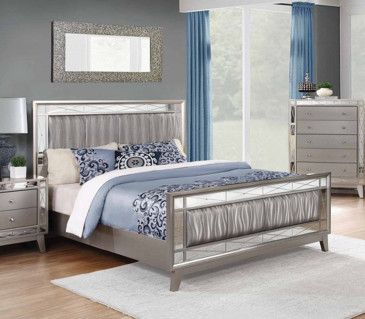 Leighton Upholstered Mirrored Bed - Metallic Mercury