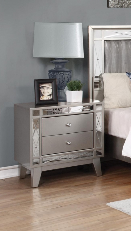 Leighton Nightstand - Metallic Mercury