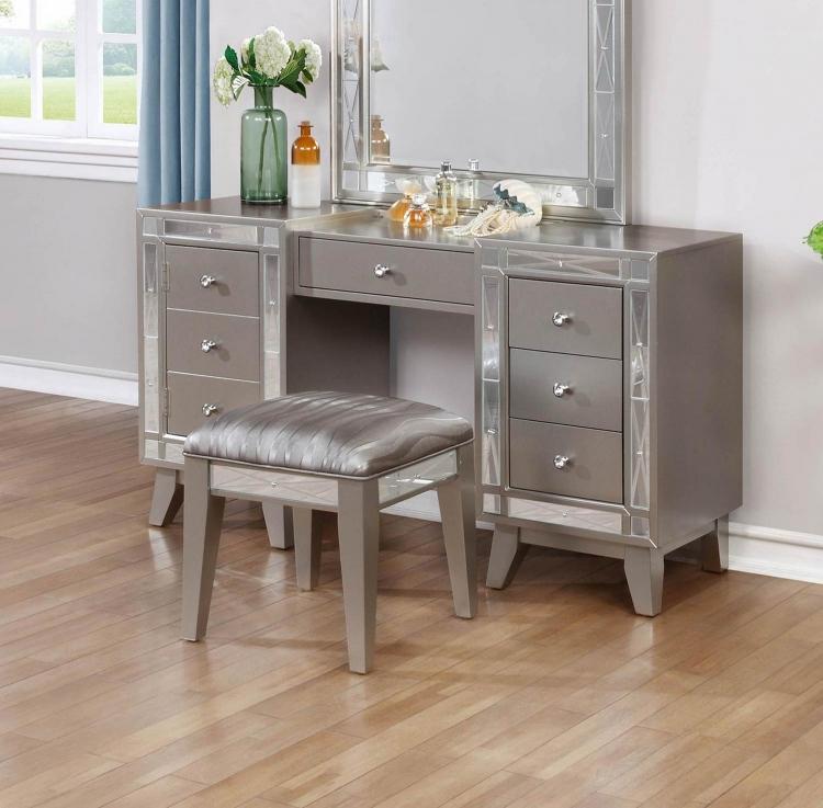 Leighton Vanity Desk and Stool - Metallic Mercury