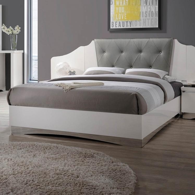 Alessandro Upholstered Bed - Glossy White
