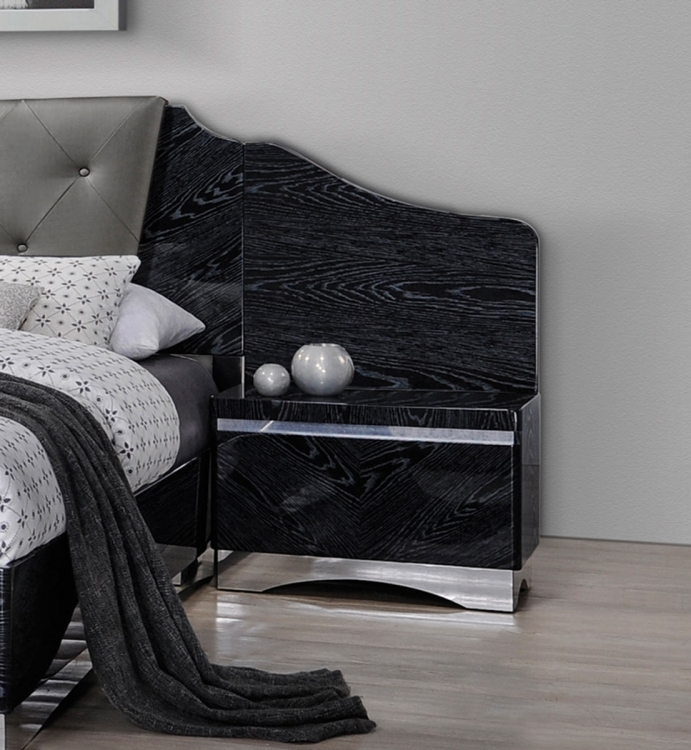 Alessandro Nightstand Panel - Pair - Glossy Black