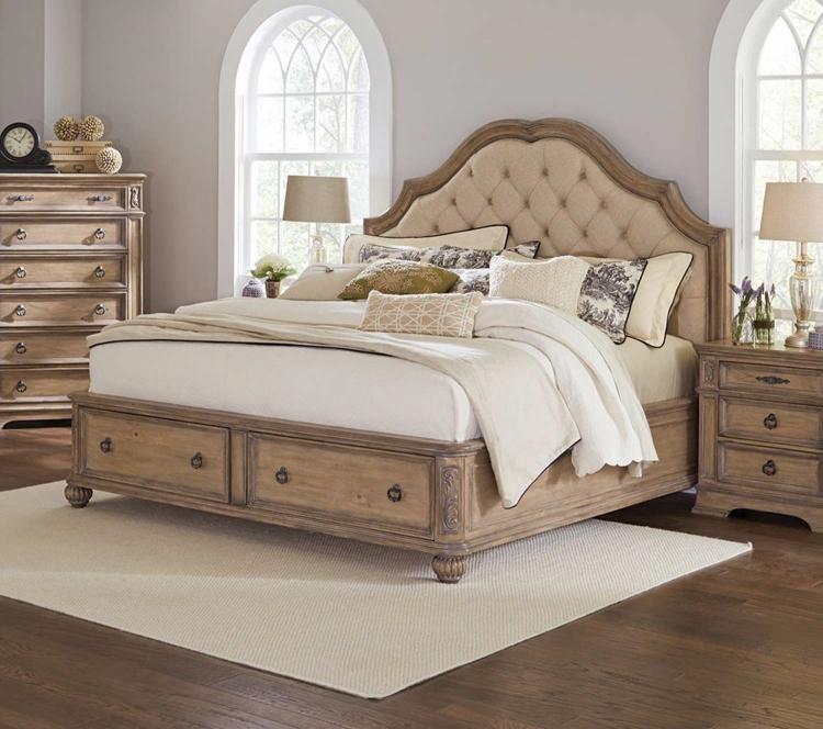 Ilana Upholstered Platform Storage Bed - Antique Linen