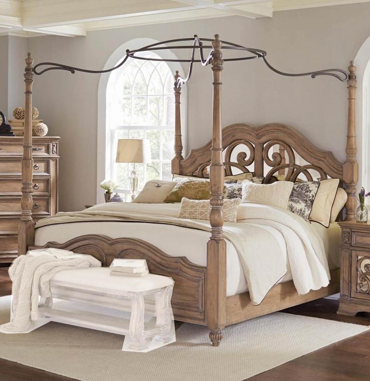Ilana Canopy Bed - Antique Linen