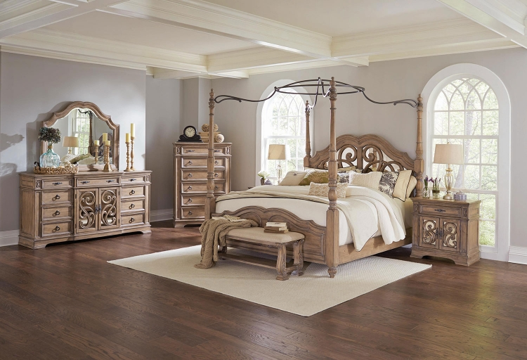 Ilana Canopy Bedroom Set - Antique Linen