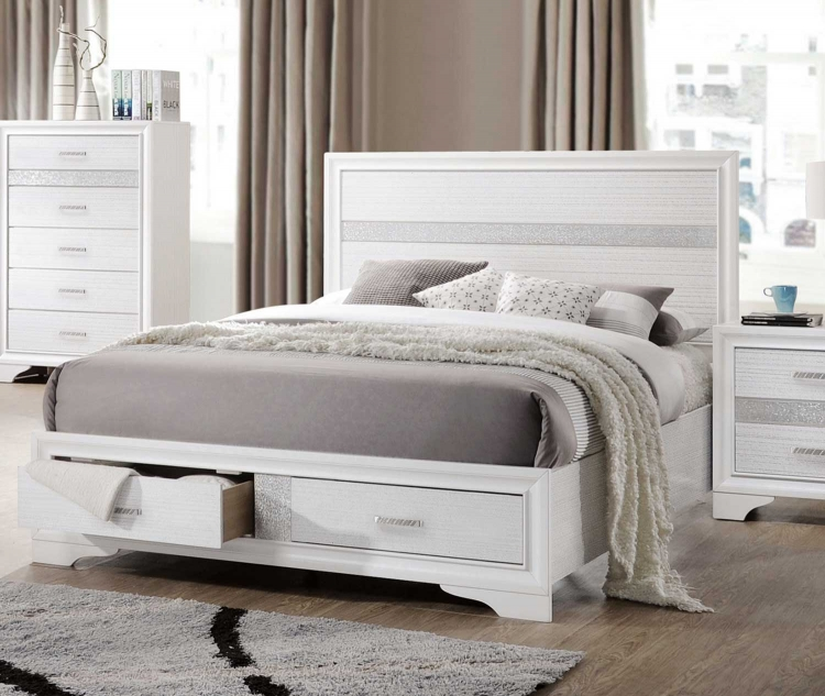 Miranda Storage Platform Bed - White