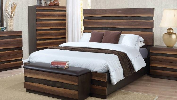 Octavia Platform Bed - Coffee/Sappy Walnut