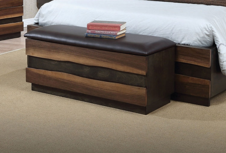 Octavia Upholstered Storage Trunk Bench - Coffee/Sappy Walnut
