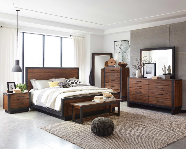 Ellison Platform Bedroom Set - Bourbon Brown