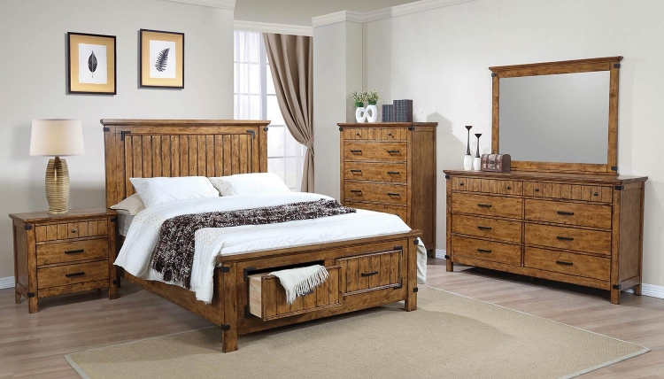 Brenner Platform Storage Bedroom Set - Rustic Honey