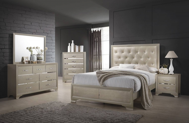 Beaumont Bedroom Set - Champagne Gold Leatherette