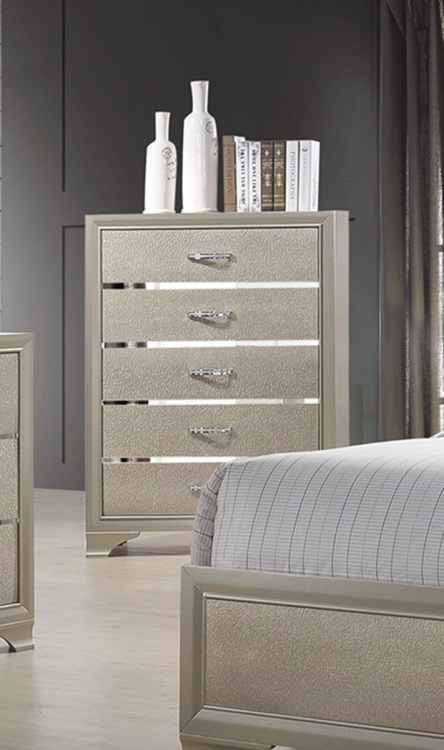 Beaumont Chest - Champagne Gold Leatherette