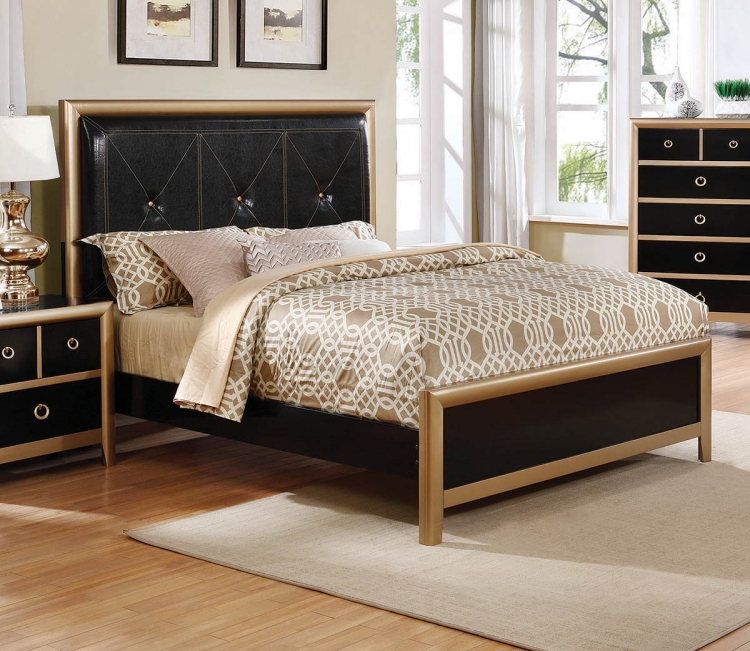 Zovatto Upholstered Tufted Bed - Black/Gold - Black Leatherette