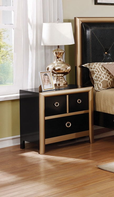 Zovatto Nightstand - Black/Gold