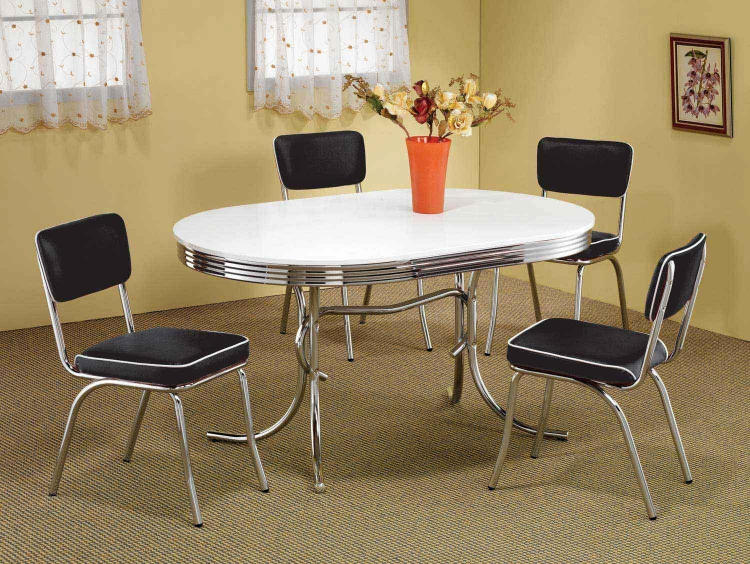 Mix & Match Oval Retro Dining Set - Black Chair - Coaster