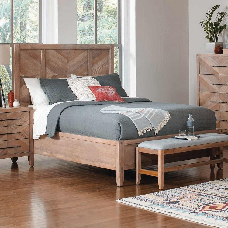 Tawny Bed - White Washed Natural
