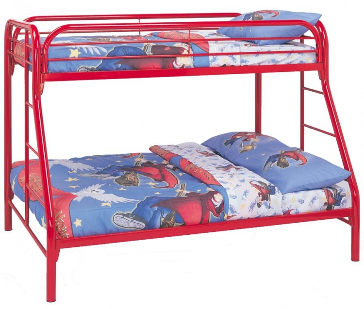 2258R Twin-Full Bunk Bed - Red