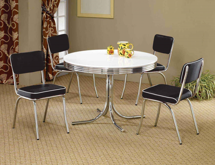 Mix & Match Round Retro Dining Set - Black Chair
